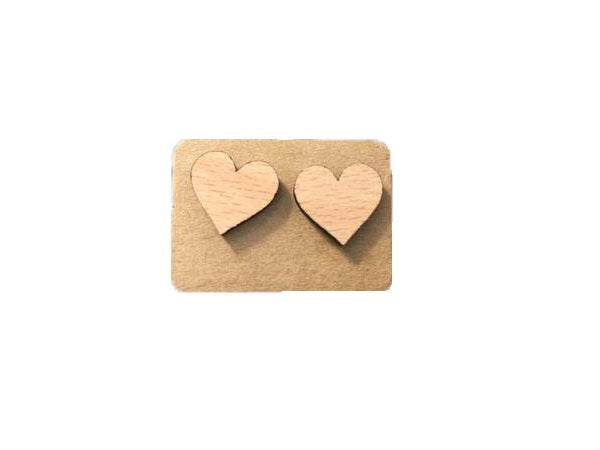 Hearts wood stud earrings