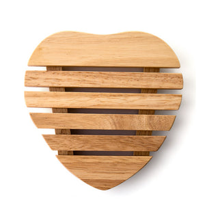 Heart shaped wooden table coaster