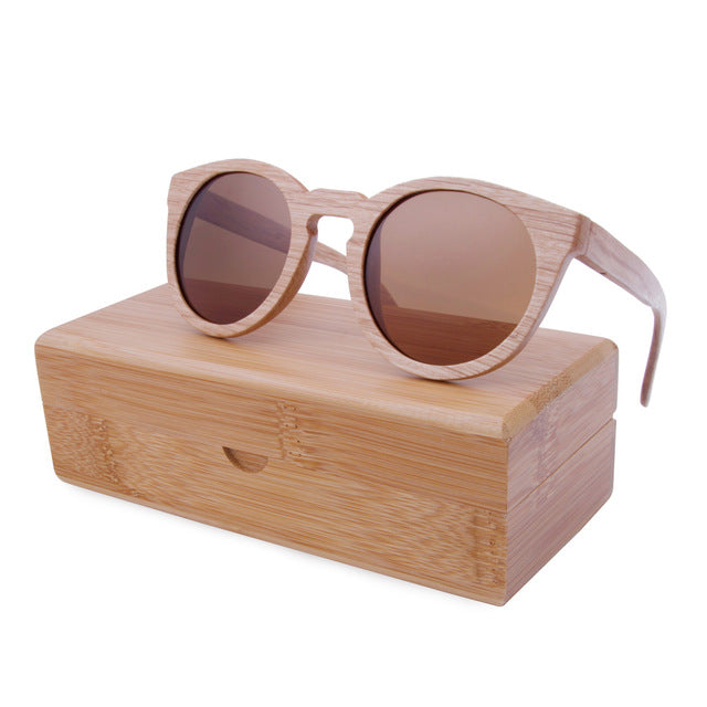 Round frame bamboo sunglasses - Brown lens