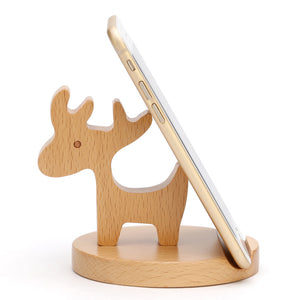 Wooden deer mobile phone holder