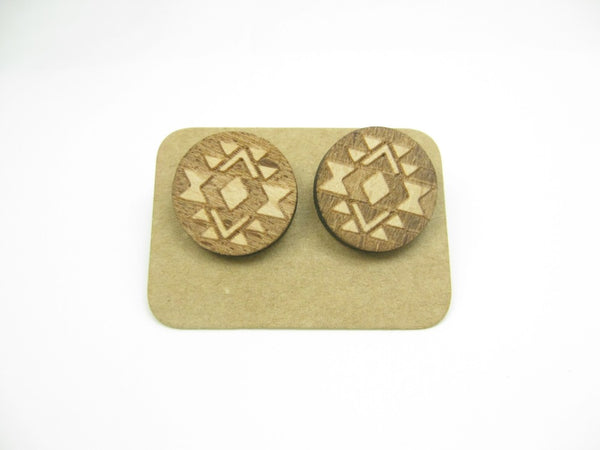 Tribal geometric  wood stud earrings