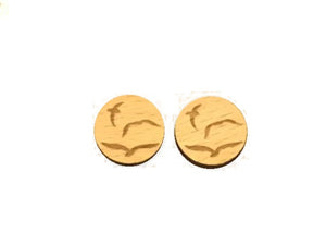 SeaGull wood stud earrings