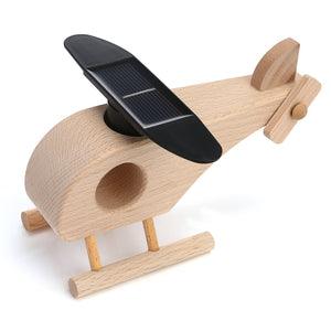 Creative solar wooden helicopter model toy