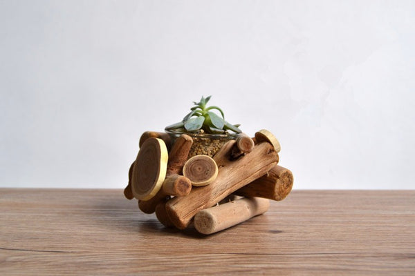 Decorative  wood flower pot