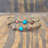 Turquoise, Lapis, and Orange Goldstone Cuffs