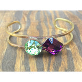 Purple and Green Swarovski Cuff Bracelet