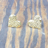 Textured Heart Stud Earrings