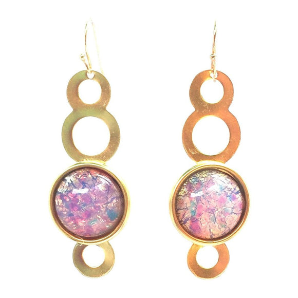Circle and Stone Earrings