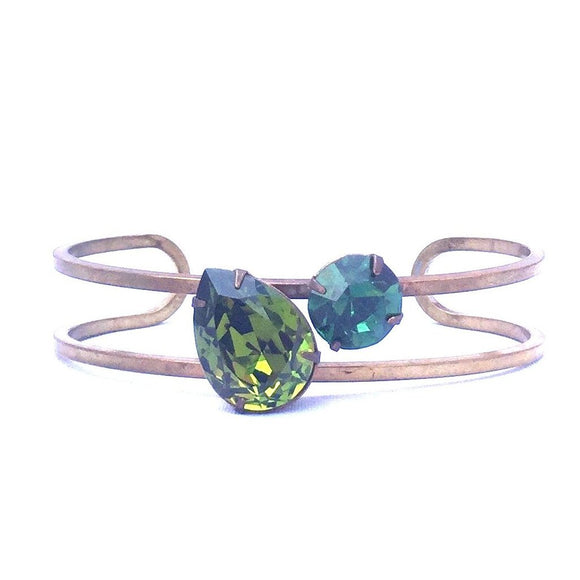 Double Green Swarovski Crystal Cuff