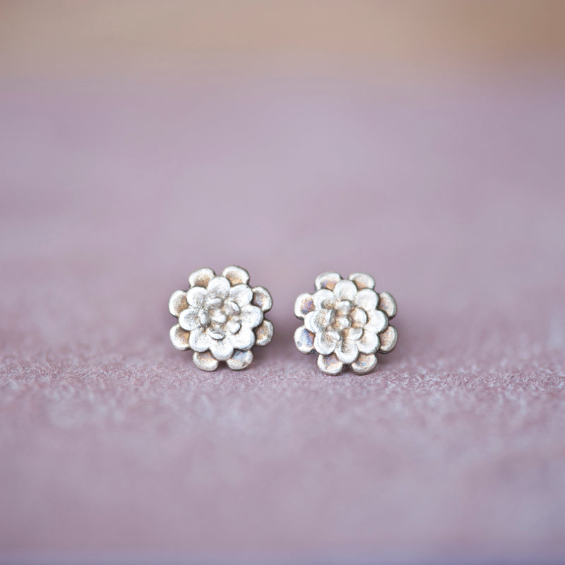 Floral Chrysanthemum Stud Earrings in Bronze - Jester Swink