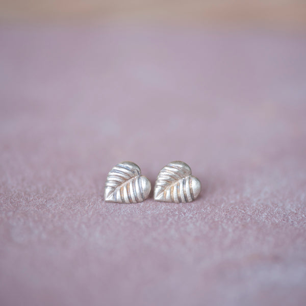 Simple Bronze Stud Leaf Earrings - Jester Swink