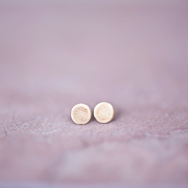 Bronze Circle Stud Earrings, 2mm Studs - Jester Swink