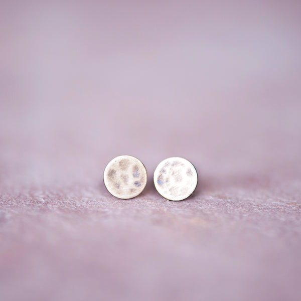 Bronze Circle Stud, Polka Dot Post Earrings, 4mm Stud Earrings - Jester Swink