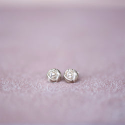 Bronze Flower Rose Bud Stud Earrings - Jester Swink
