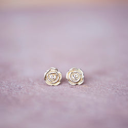 Bronze Rose Stud Earrings - Jester Swink