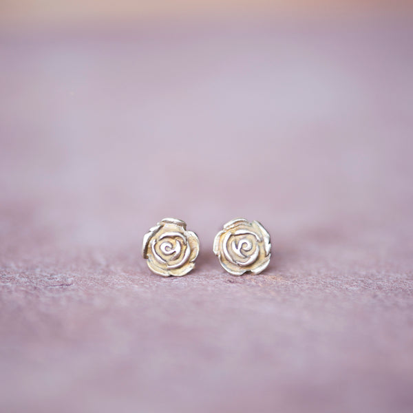 Bronze Rose Stud Earrings from Jester Swink - Jester Swink