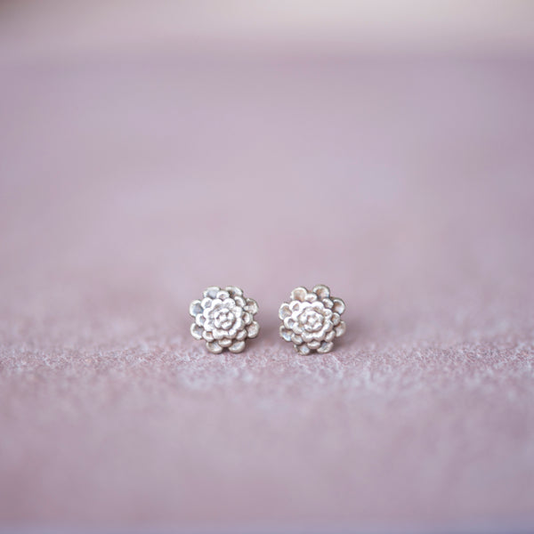 Floral Chrysanthemum Stud Earrings from Jester Swink - Jester Swink