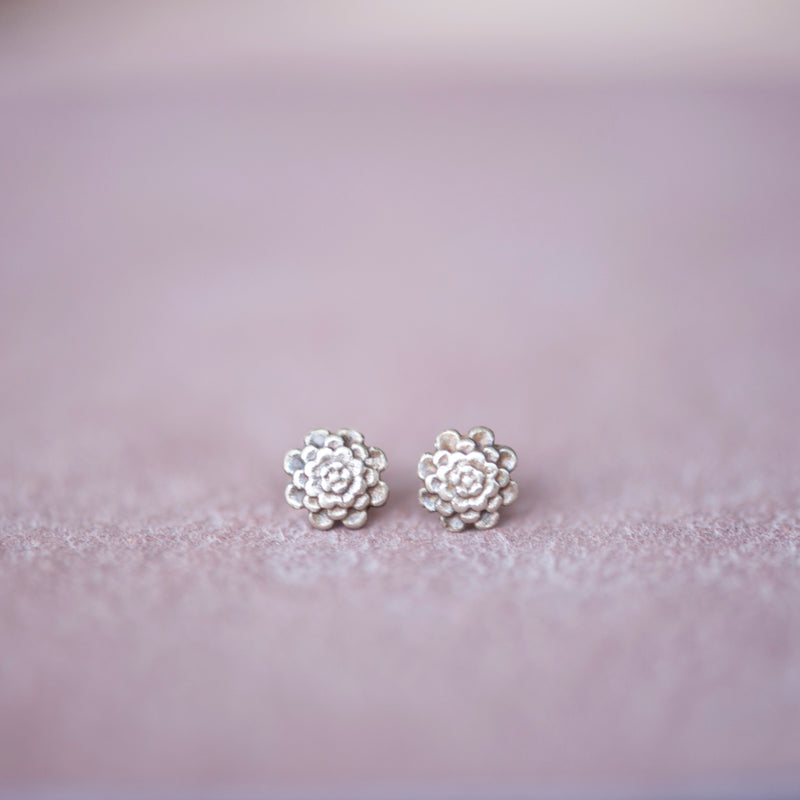 Floral Chrysanthemum Bronze Stud Earrings, 4mm - Jester Swink
