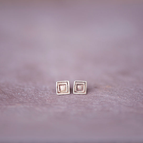 Artisan Geometric Square Stud Earrings in Bronze - Jester Swink