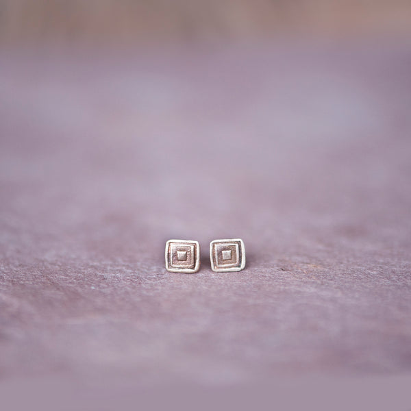 Geometric Square Stud Earrings in Bronze - Jester Swink