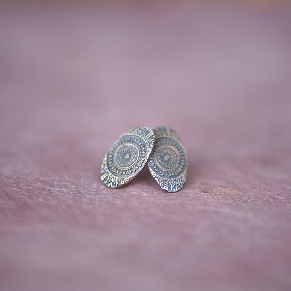 Delicate Moroccan Sundial Stud Earrings in Bronze - Jester Swink