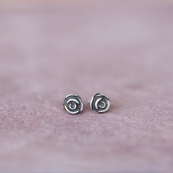 Mini Silver Rose Stud Earrings from Jester Swink - Jester Swink
