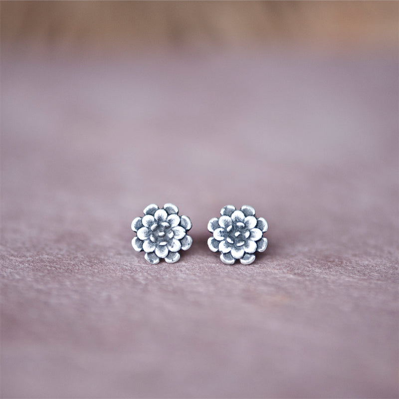 Floral Chrysanthemum Stud Earrings in Silver - Jester Swink