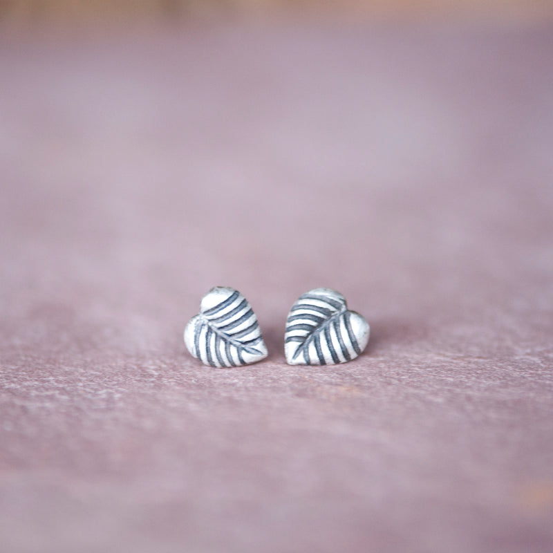 Simple Silver Stud Leaf Earrings - Jester Swink