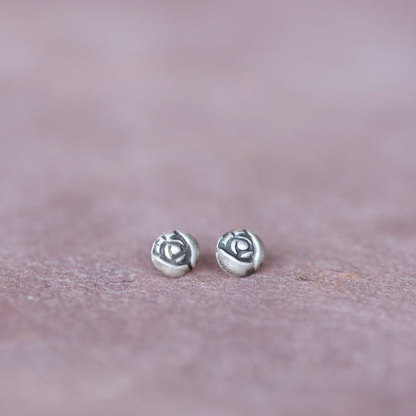 Silver Flower Rose Bud Stud Earrings - Jester Swink