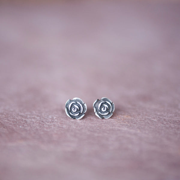 Silver Rose Stud Earrings from Jester Swink - Jester Swink
