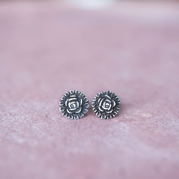Sterling Silver Rose Stud Earrings from Jester Swink - Jester Swink