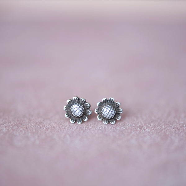 Sterling Silver Daisy Flower Stud Earrings - Jester Swink