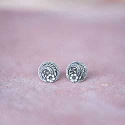 Silver Vintage Button Stud Earrings - Jester Swink