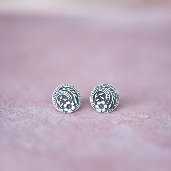 Silver Vintage Button Stud Earrings from Jester Swink - Jester Swink