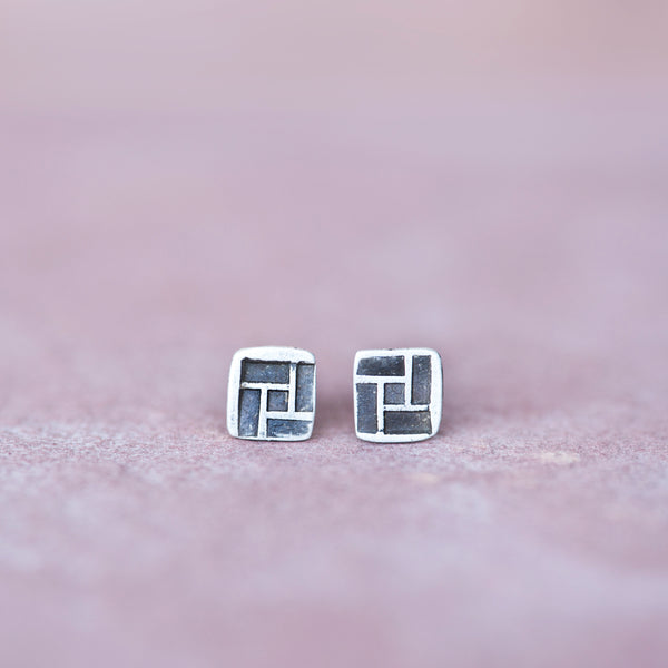 Modern Geometric Square Sterling Stud Earrings - Jester Swink