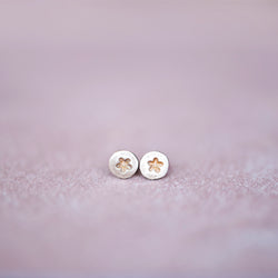 Circle Bronze Star Stud Earrings, 3mm - Jester Swink