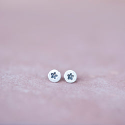 Circle Silver Star Stud Earrings, 3mm - Jester Swink