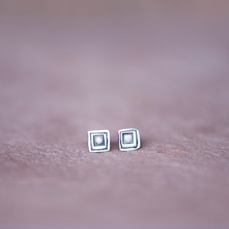 Artisan Geometric Square Stud Earrings in Silver - Jester Swink