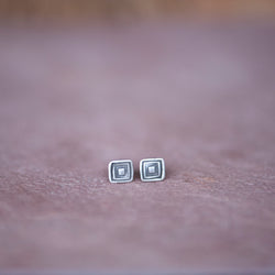 Geometric Square Stud Earrings in Silver - Jester Swink