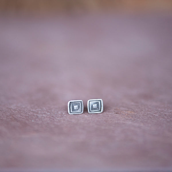 Geometric Square Stud Earrings from Jester Swink - Jester Swink