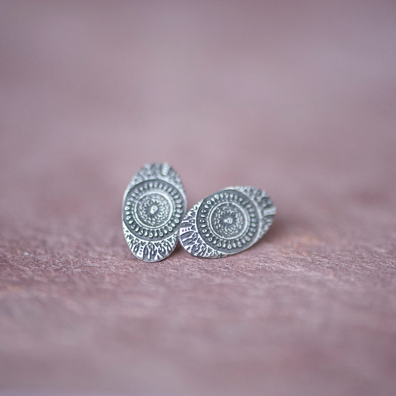Delicate Silver Moroccan Sundial Stud Earrings from Jester - Jester Swink