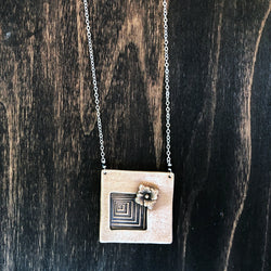 Geometric Abstract Square Pendant Necklace - Jester Swink