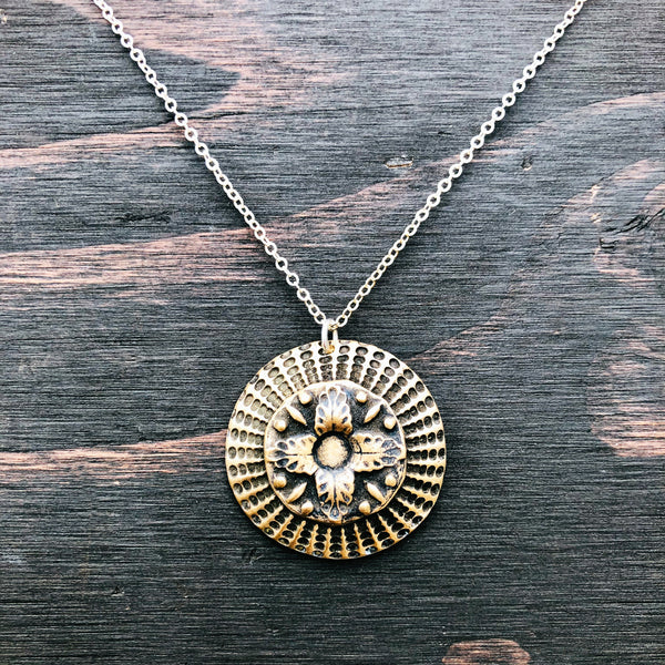 Dots and Floral Bronze and Sterling Necklace - Jester Swink