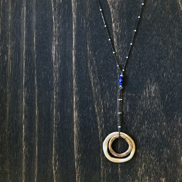Bronze and Lapis Rings of Love Necklace - Jester Swink