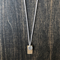 Bronze Bar and Sterling Lace Charm Necklace - Jester Swink