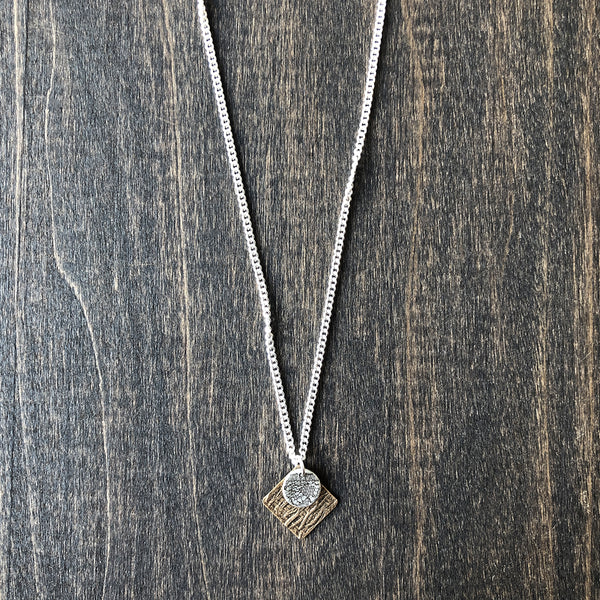 Delicate Square and Circle Bronze and Silver Necklace - Jester Swink