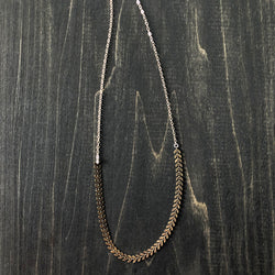 Chevron Brass and Gold Filled Chain Necklace - Jester Swink