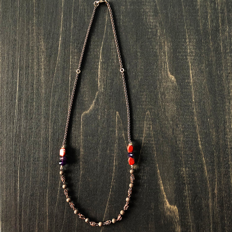 Jester Swink - Copper, Jasper, and Amethyst Necklace