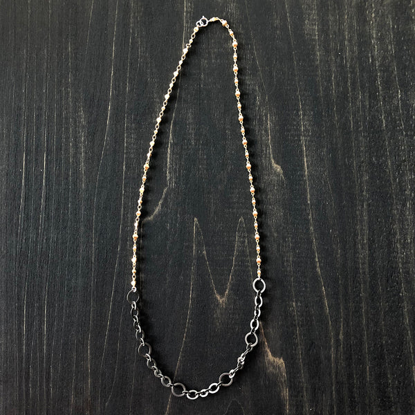 Gold Vermeil and Darkened Electroplated Chain Necklace - Jester Swink