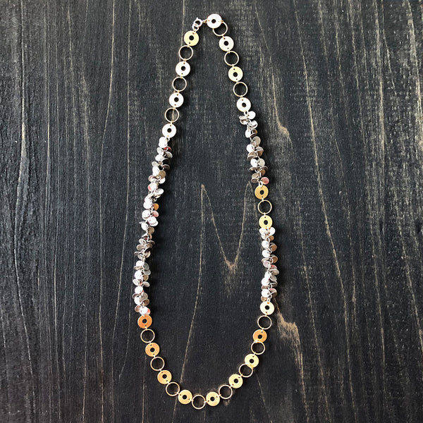 Asymmetry Chain on Chain with Gold and Silver Necklace - Jester Swink